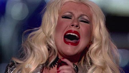 Кристина Агилера «звездит» на съемках шоу The voice