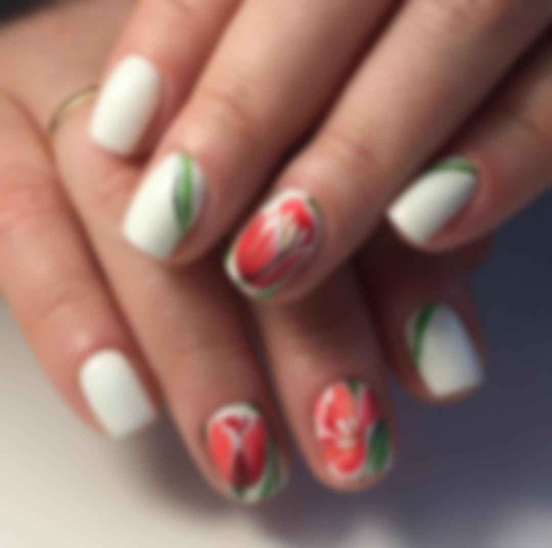 Маникюр Рисунки Цветов На Ногтях
