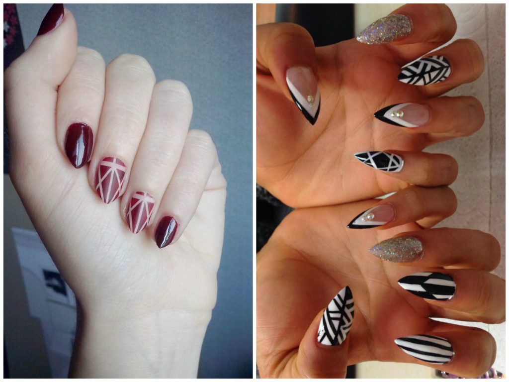 Миндальная форма ногтей дизайн со стразами