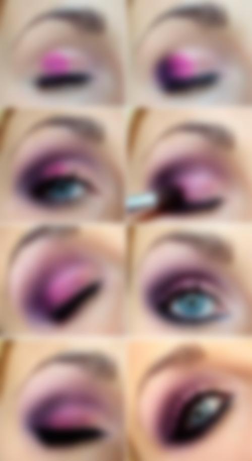 макияж в фиолетовых тонах пошаговое фото проявил