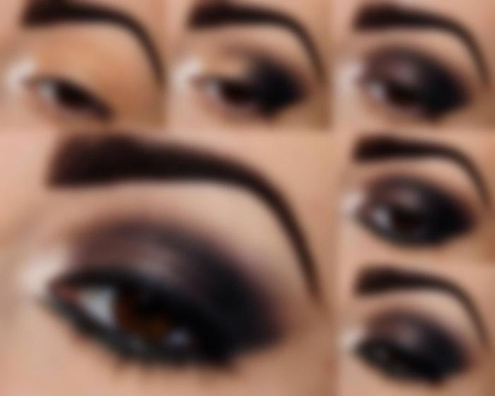 Картинки вечернего макияжа для карих глаз