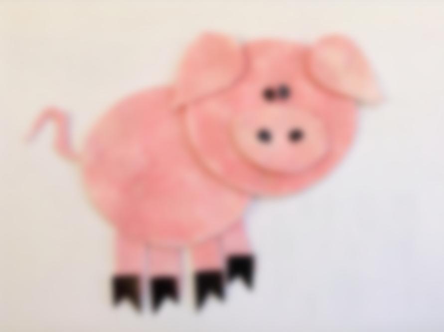 Новогодняя открытка свинка из бумаги