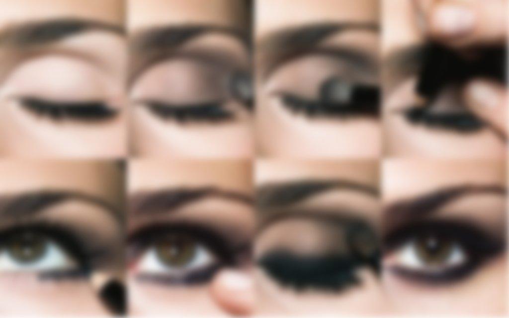 Черный макияж для зеленых глаз фото поэтапно