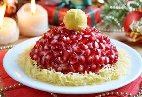 Красивые и вкусные салаты Шапка Деда Мороза