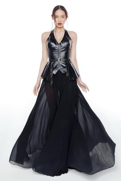 Кожа и шифон платье